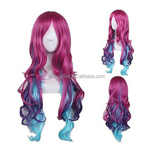 Cosplay Wigs for Women Pink Mixed Blue Long Wavy Wigs with Bang Lolita Style Heat Resistant Full Wig