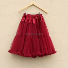 Latest Burgundy Women Tutu Skirt 2017 Newest Design Ladies Long Skirt For Wholesale