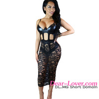 Black Hollow-out Leather Vestidos Sexis del Sexy Girl Night Club Wear