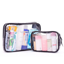 Fashion Stand Up PVC See Through Plastic Bags For Cosmetic Makeup Bags Travel Wash Pouch