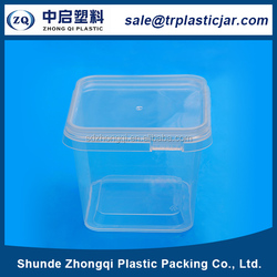 Free sample High quality 500ml square PS plastic box,500ml square big clear plastic gift boxes container with lid