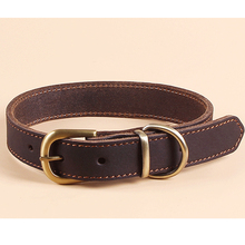 durable and cozy brown leather dog collar