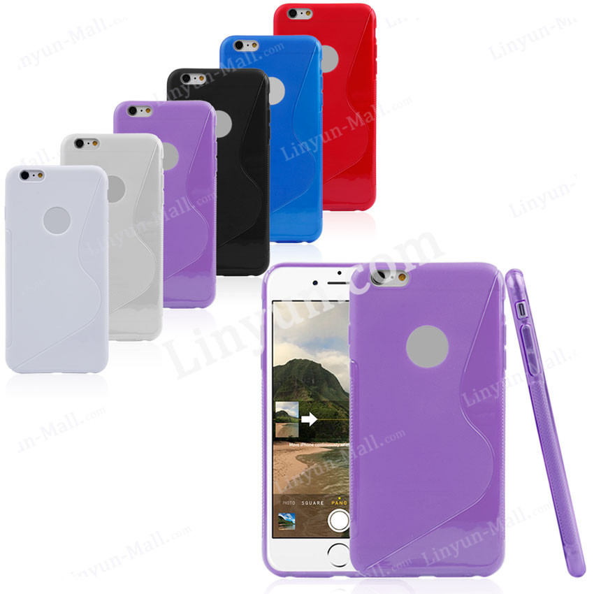 S-line back phone case for iPhone 6 Plus, soft case for iphone 6 plus with logo hole