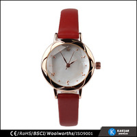special face red strap vogue women watch leather, women fashion hand watch
