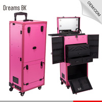 Professional 4-in-1 cosmetic case trolley beauty case with mirror