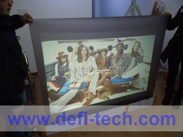 High Definition Dark grey adhesive holography back projection screen film for advertising,use under direct sun &light