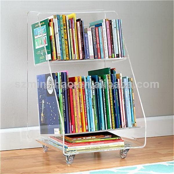Delicate clear plexiglass book shelf holder with 4 wheels