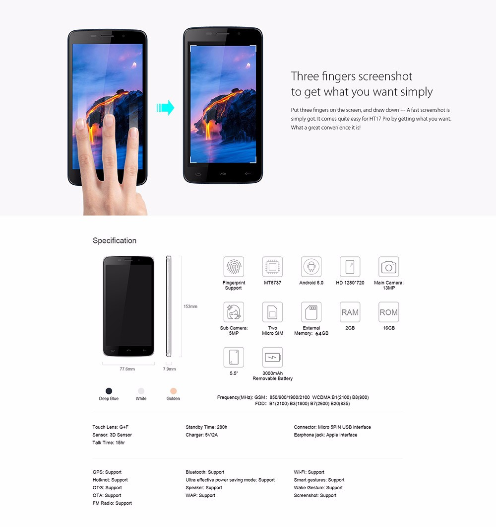 Original Homtom HT17 Pro Smartphone 5.5 Inch Android 6.0 MT6737 Quad Core Mobile Phone 2GB RAM 16GB ROM Fingerprint Cell Phone