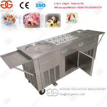High Efficiency Double Pan Fried Ice Cream Roll Machine, Thailand Fry Ice Cream Machine
