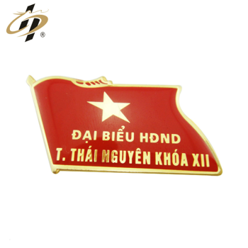Wholesale die cut custom enamel metal gold flag lapel pin with resin