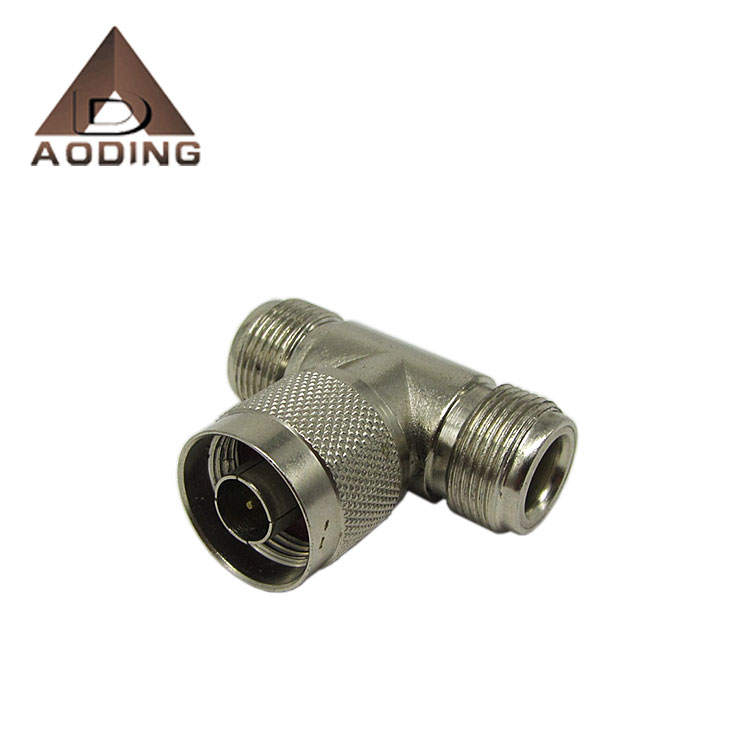 RF coaxial N male to double female tee connector