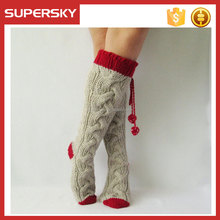 K-681 Cute Women's Lace Knee High Socks Cable Thigh High Stockings Hand Knit Cable Leg Warmer