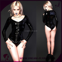 Sexy Womens Black Leather Long Sleeve Metallic Zip Front Romper Jump Suit Clubwear Lingerie