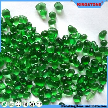 Dark green color glass beads for swimming pool