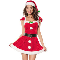 2015 New Product Wholesale sexy red women christmas elf fancy dress
