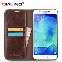 QIALINO Handmade Top Layer Leather Phone Case For Iphone And For Samsung A8