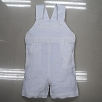 White linen baby boys shortall