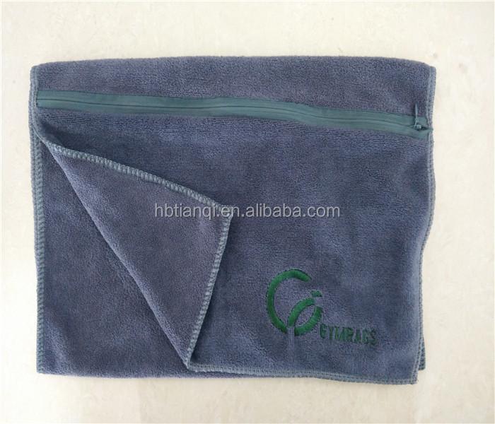 Microfiber Gym Towel With Zip: Best Selling Bulk Plush Microfibre Travel Sports Towel