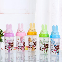 Kids straw with nylon strap bpa free portable plastic drinking water bottle YB-0187