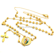 316 Stainless Steel Cube Beads Gold Necklace with Cross and Saint Judas Religious Christian Necklace Prayer Rosary for Girl