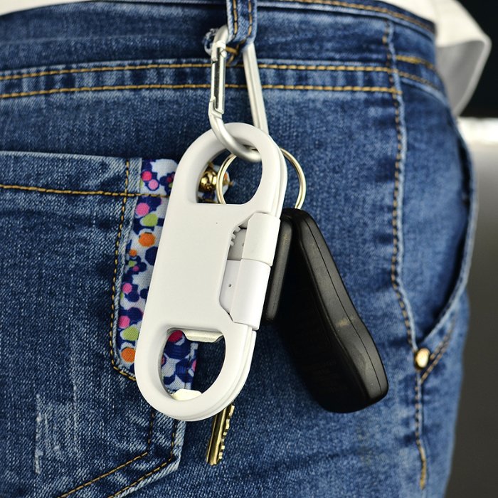 Portable 3 in 1 Bottle Opener Micro USB Keychain white color