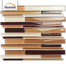 Glossy Hot Sale Material Linear Kitchen Adhesive Brown Glass Tiles