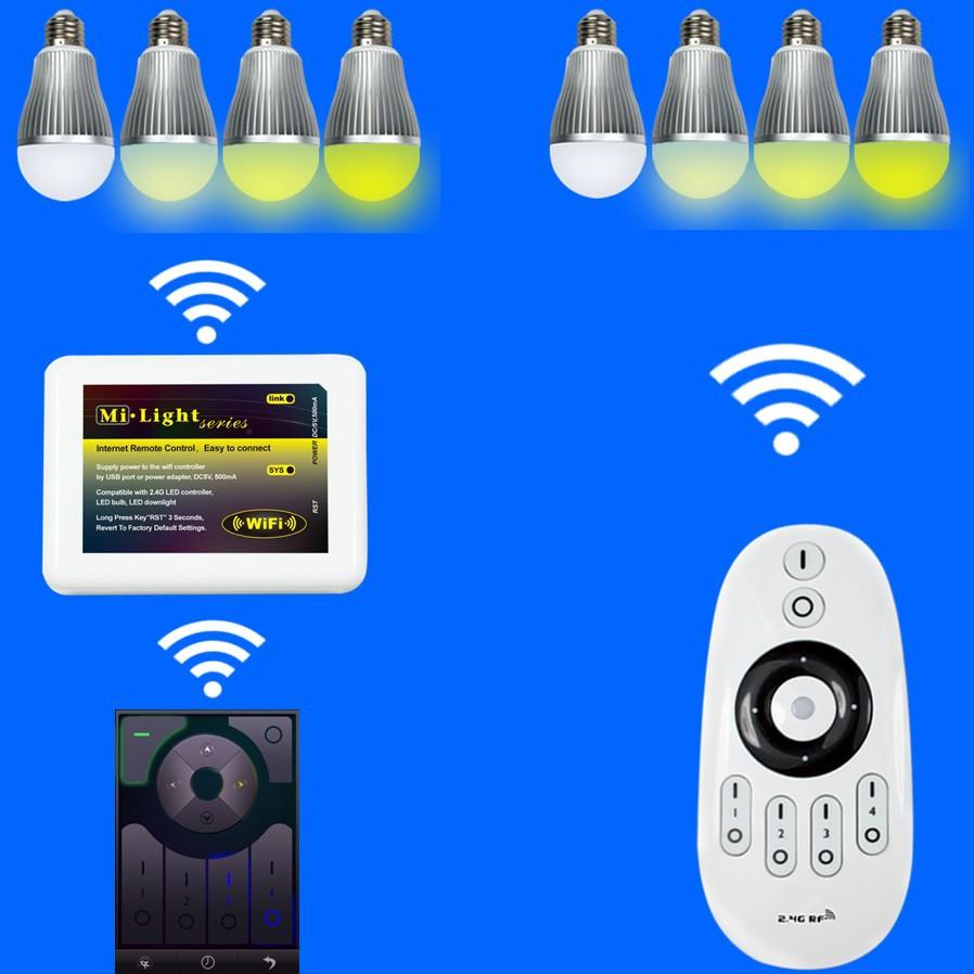 2.4g Wireless Wifi Light Bulb Adapter,Hue E14 9w Multi ...