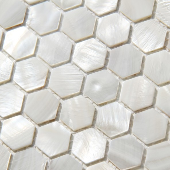 Hexagon Shell Mosaic Tile Mother Of Pearl For Bathroom Backsplash tile