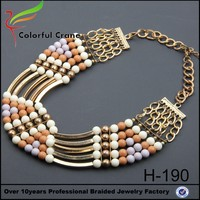 China Jinhua wholesale woman gold chain bohemian charms latest design beads necklace