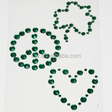 Shiny **HEART/FLOWER/ICON** Scrapbook Stickers/Emerald Rhinestone ss20/ss10 Sticker for laptop