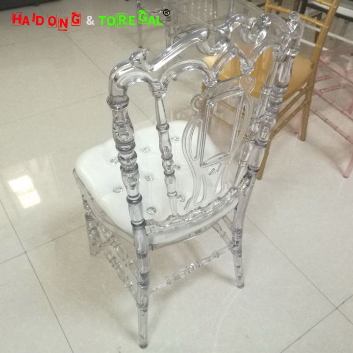 Cear Crystal Transparent PC Resin Plastic Royal Chair