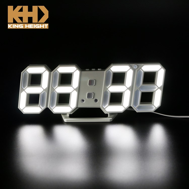 KH-0346 Display Plastic Clock Snooze Clock Brightness Automatically Adjust LED Electronic Table Alarm Wall Clock with 3D Numbers