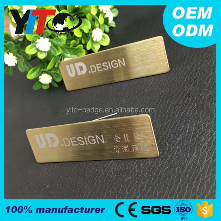 custom badge name tag pin 70*20mm 7 colors stainless steel plate employee name metal badges custom