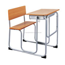 European Classic Old Style Single School Desk with Chair, Attached School Desk and Chair
