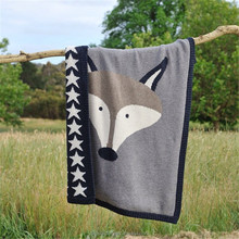 90*120cm gray fox blanket baby blanket crochet knitting patterns blandets kids baby blanket animal cartoon soft wrap throw