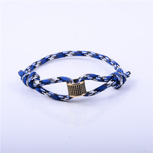 Simple Stainless Steel Bead Blue Camouflage Charm Cord Bracelet
