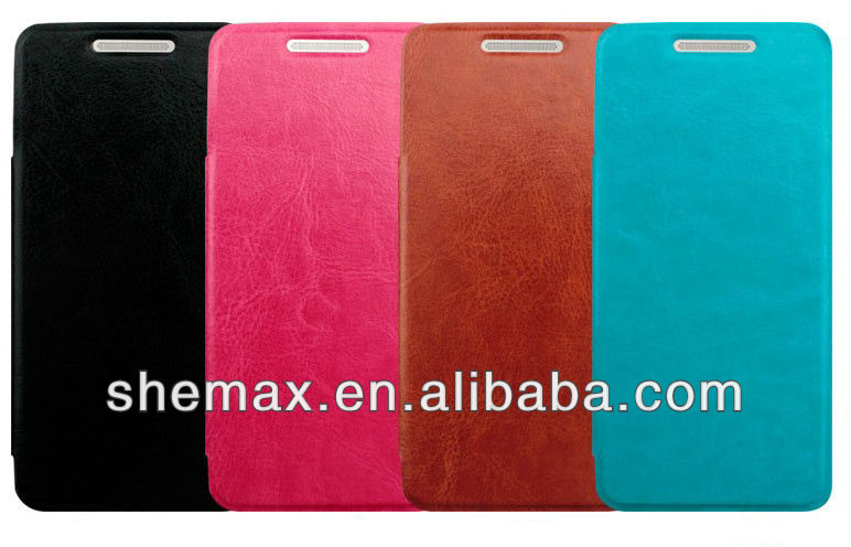 PU Leather Skin Flip Pouch Case Cover For HTC butterfly S