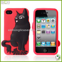 3D Cute cat sicillione cell phone case for iphone 5