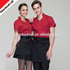 Promotional Fashion short sleeve Restaurant Uniform unisex service hotel staff uniform for Waiter waitress