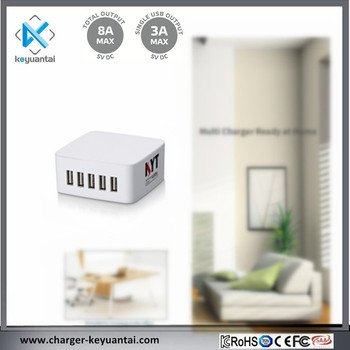 5 Port 40W 8A Fast USB Desktop Charger USB Travel Wall Charging Station