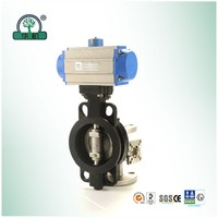 wafer connection air water pneumatic actuator butterfly valve