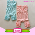 Wholesale Candy Color Flutter Sleeve Long Leg Girls Toddler Icing Romper Monogram Blanks Baby Triple Ruffle Icing Romper