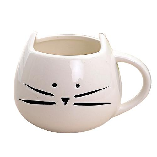 Fine porcelain cute cartoon cat shaped coffee mug design / ceramic interesting couple mugs - <strong>Black</strong> & White