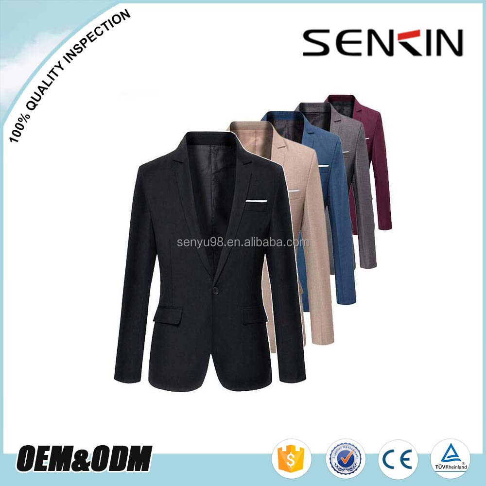 New Style Men's Long Sleeve Casual Blazer Jacket Fashion Black Suit for Men OEM