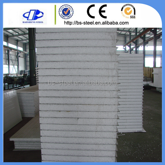 Light steel color corrugated EPS foam sandwich panel container house wall panel