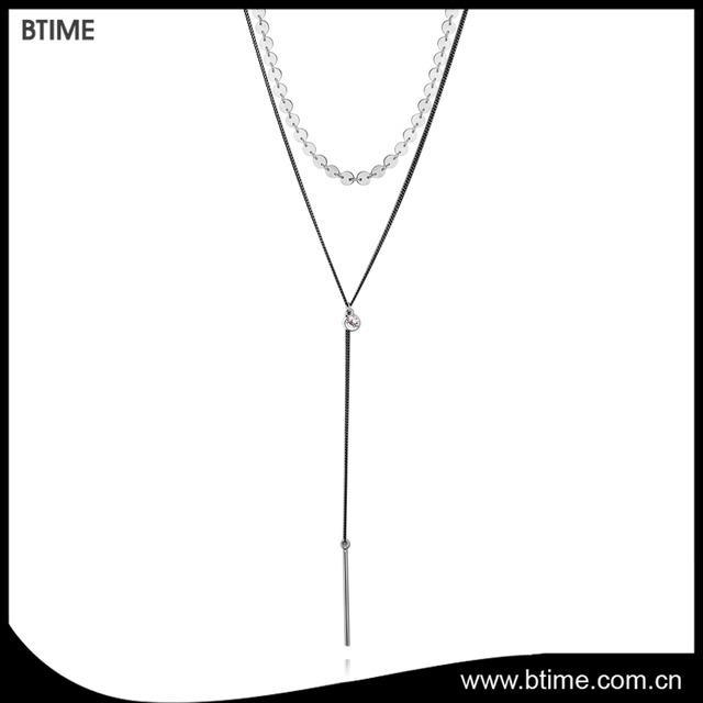 Latest new design simple handmade long pendant fashion crystals necklace