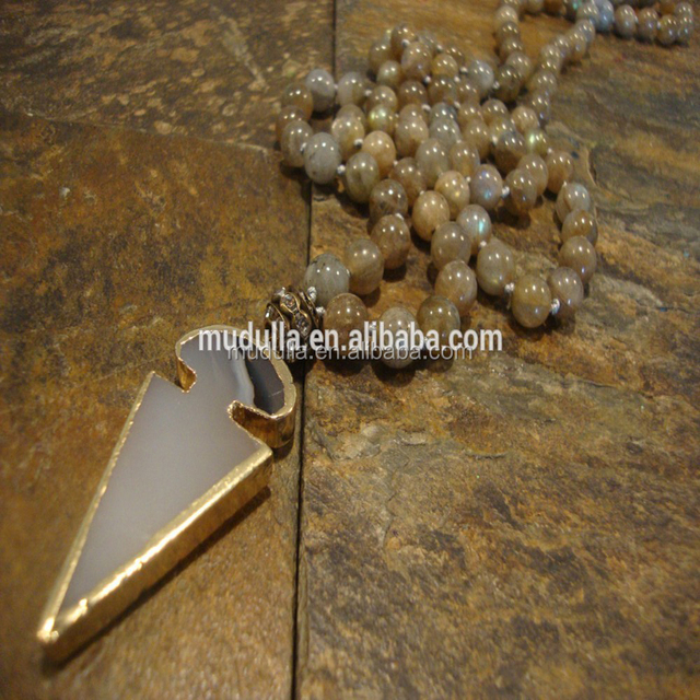 N16031628 Fashion Wholesale Labradorite Beaded Necklace Long Layer Gold Plated Arrowhead Jasper Pendant Necklaces Jewelry