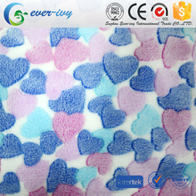 rubber print 100% Polyester heart pattern printed Flannel Fabric