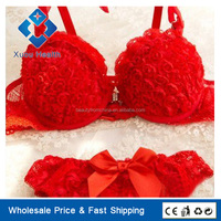 New Design Flax Roses Women's Underwear Set of Lingerie Sexy Yong Girls Lifting Bra Sets