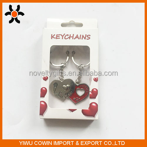 New design metal double heart couple maching keychain